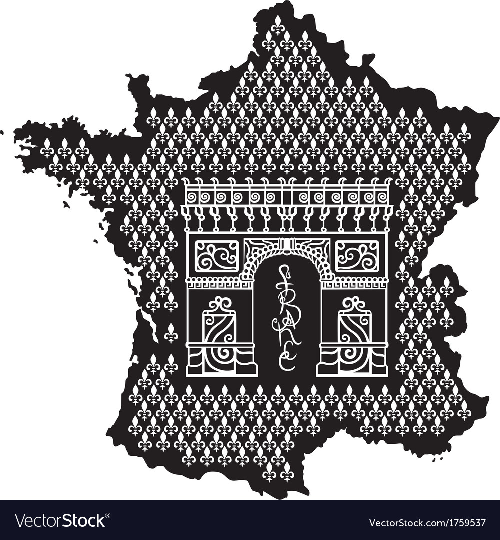 Contour of france with arc de triomphe vector | Price: 1 Credit (USD $1)