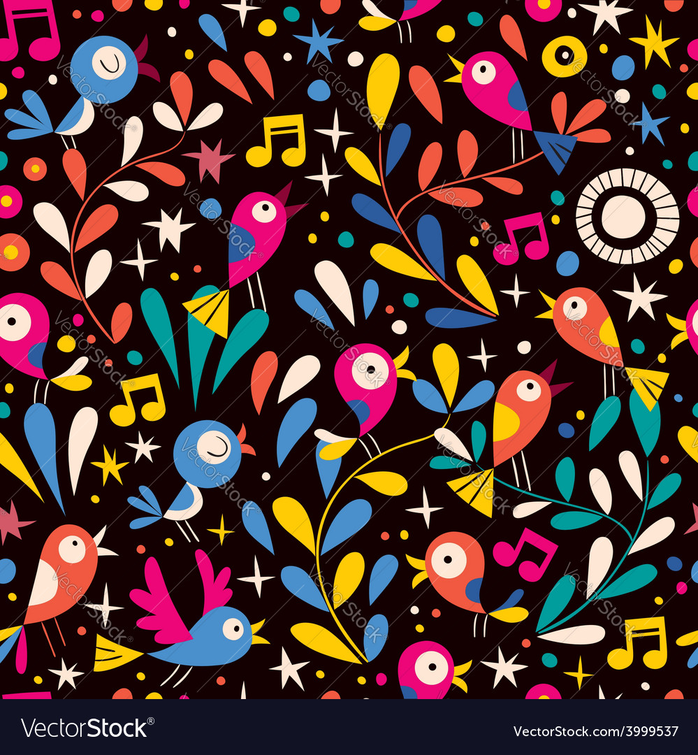 Floral pattern with cartoon birds vector | Price: 1 Credit (USD $1)