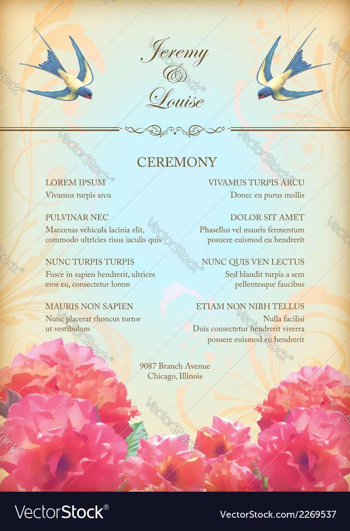 Floral wedding party card with flowers birds vector | Price: 1 Credit (USD $1)