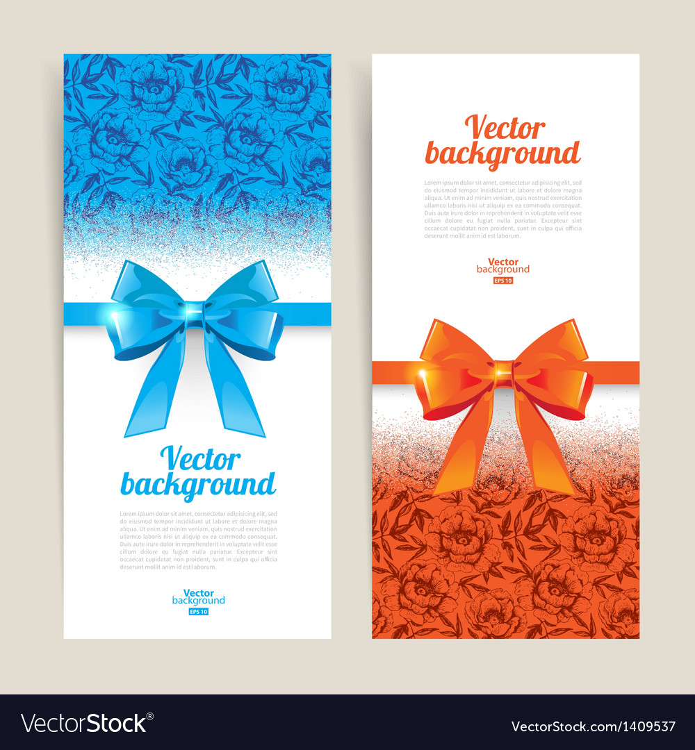 Greeting cards with gift bows vector | Price: 1 Credit (USD $1)