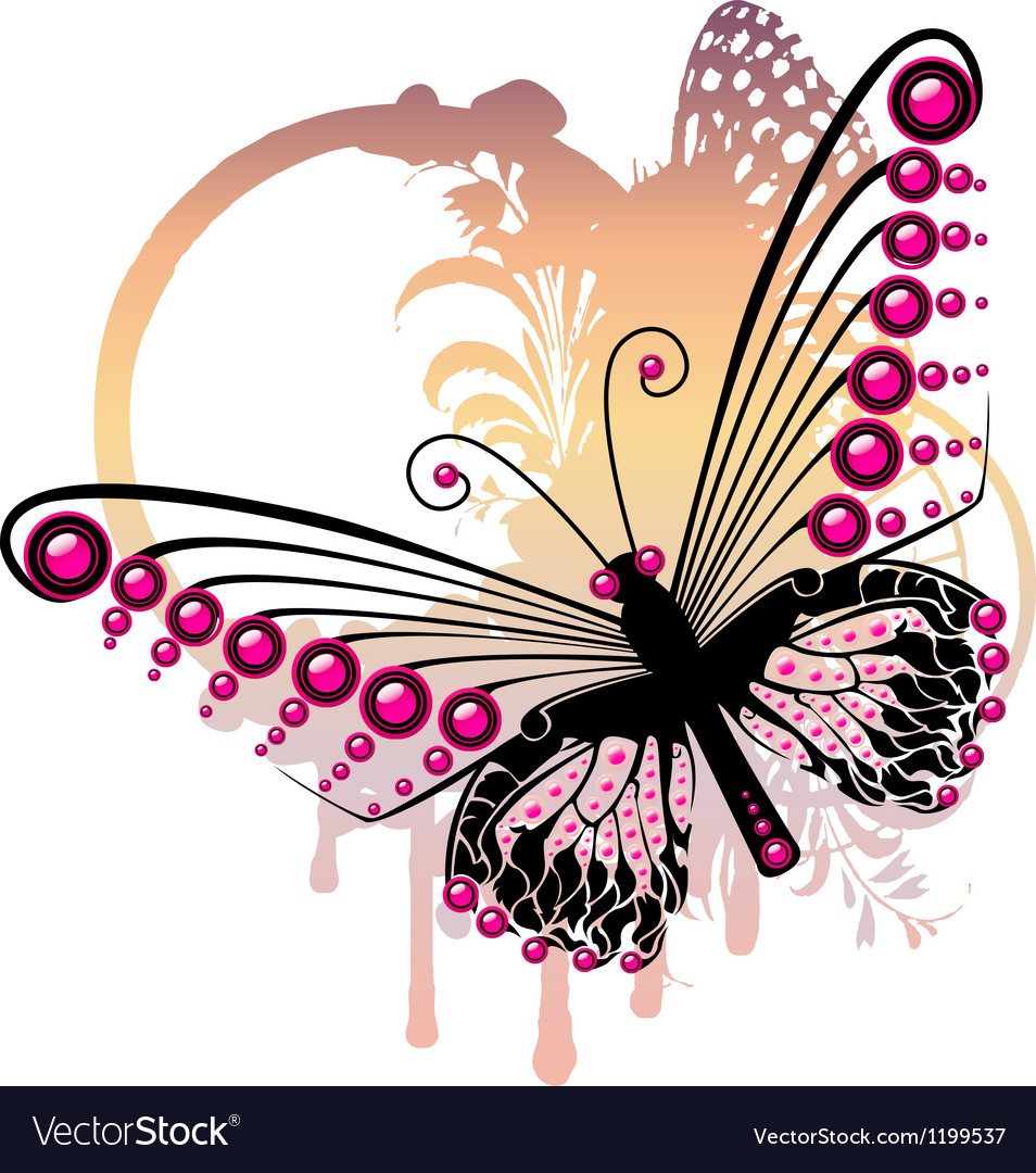 Purple butterfly vector | Price: 1 Credit (USD $1)