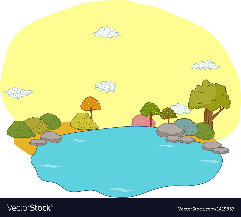 River landscape scene vector | Price: 1 Credit (USD $1)
