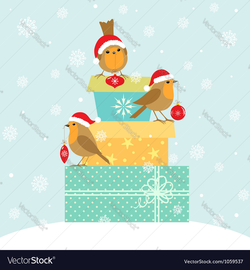 Robins and christmas gifts vector | Price: 3 Credit (USD $3)