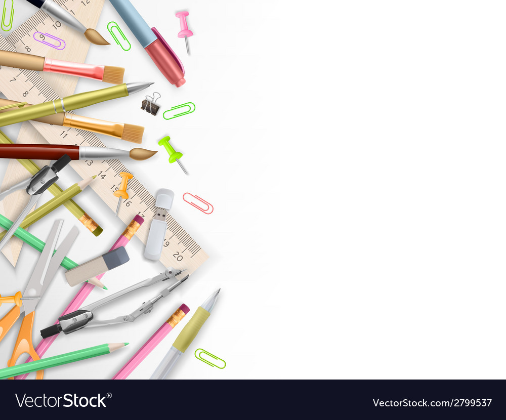 School supplies on white with copyspace eps 10 vector | Price: 1 Credit (USD $1)