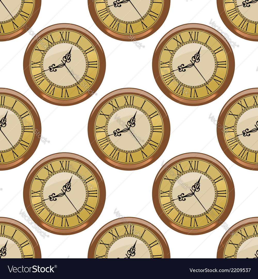 Seamless pattern of vintage clocks vector | Price: 1 Credit (USD $1)