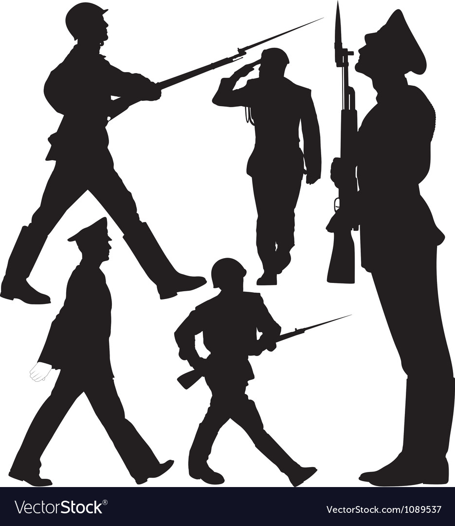 Soldiers marching and sentry guard silhouettes vector