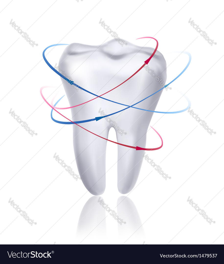White tooth surrounded by beams taking care of vector | Price: 1 Credit (USD $1)