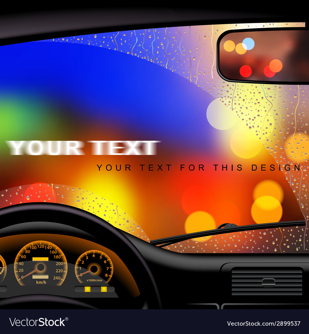 Windshield in rain vector | Price: 1 Credit (USD $1)