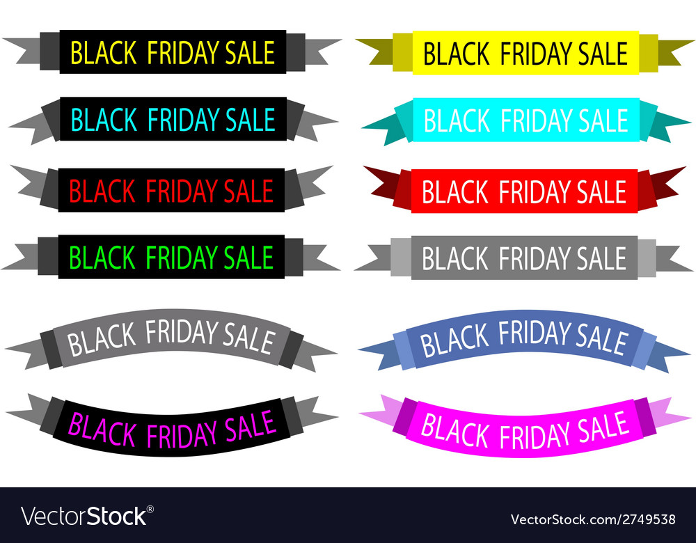 A set of colorful black friday banners vector | Price: 1 Credit (USD $1)