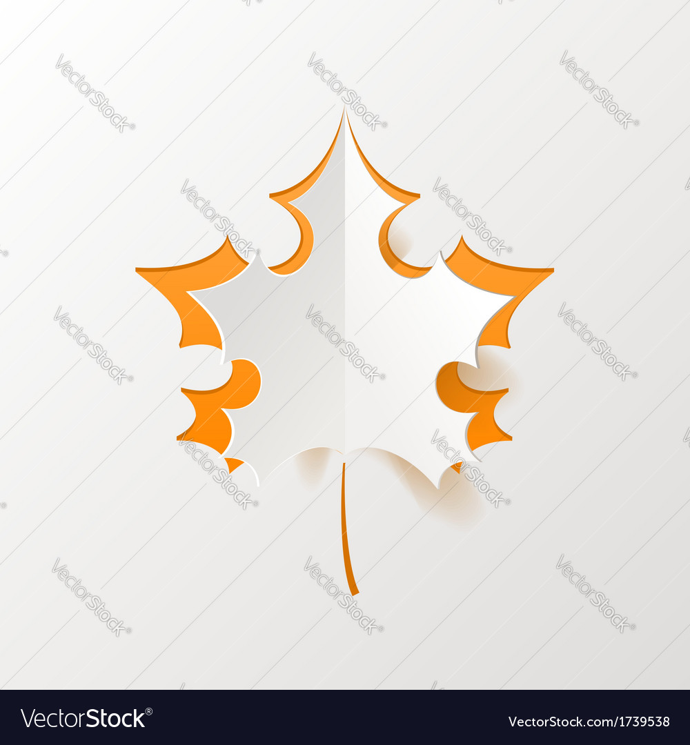 Abstract orange maple leaf isolated on white vector | Price: 1 Credit (USD $1)