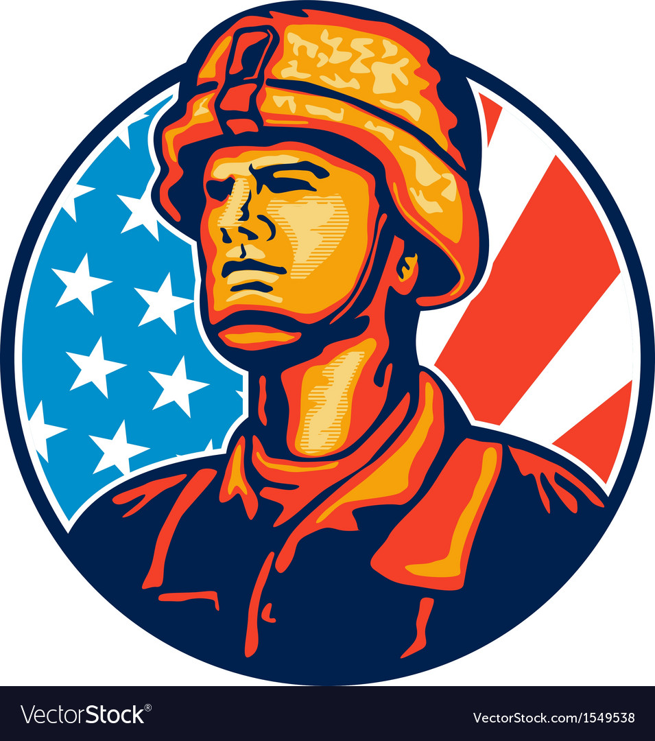 American serviceman soldier flag retro vector | Price: 1 Credit (USD $1)