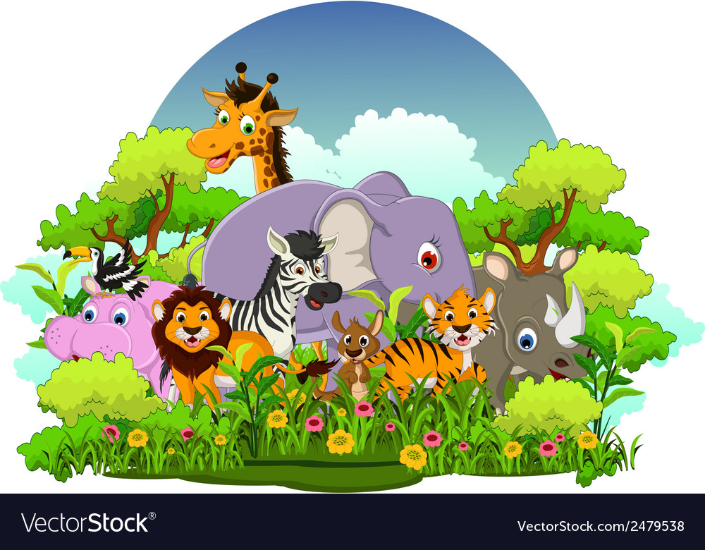 Animal wildlife cartoon with forest background vector | Price: 1 Credit (USD $1)
