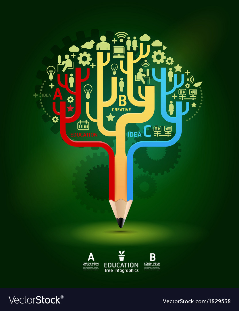 Creative pencil concept growth tree idea modern te vector | Price: 1 Credit (USD $1)