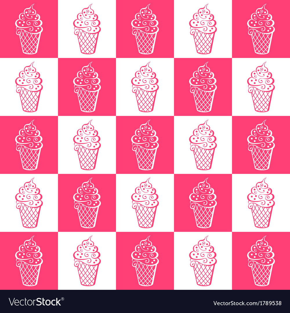 Ice cream white and pink pattern vector | Price: 1 Credit (USD $1)