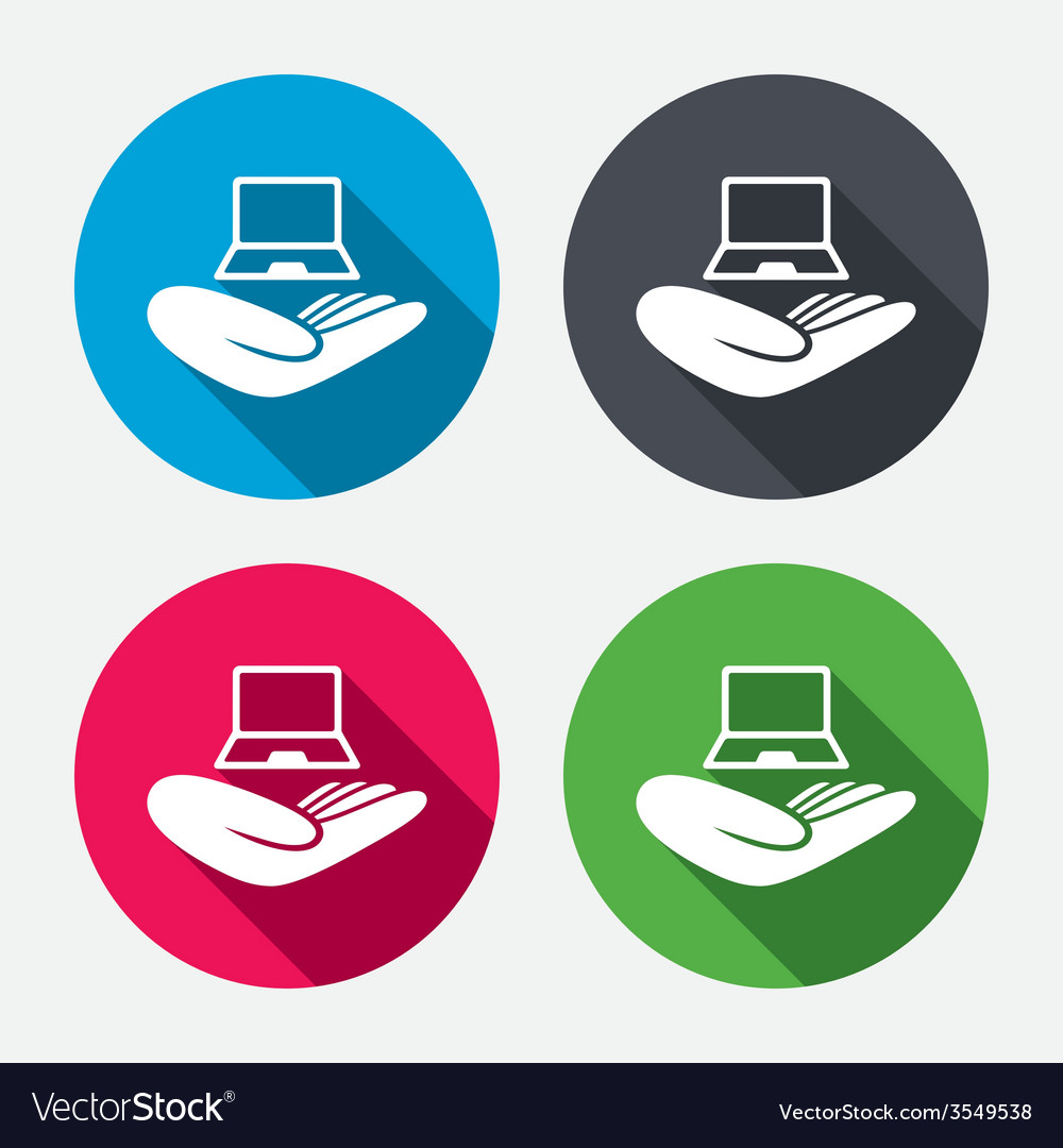 Notebook insurance sign hand holds pc laptop vector | Price: 1 Credit (USD $1)