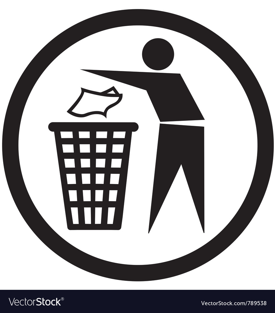 Put rubbish in the bin sign vector | Price: 1 Credit (USD $1)