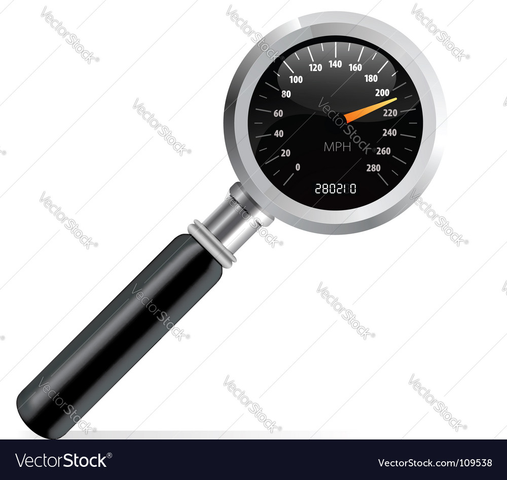 Speedometer in magnifier vector | Price: 1 Credit (USD $1)
