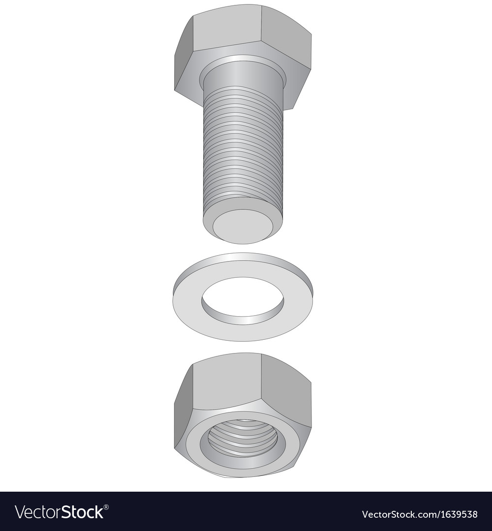 Stainless steel bolt and nut vector | Price: 1 Credit (USD $1)
