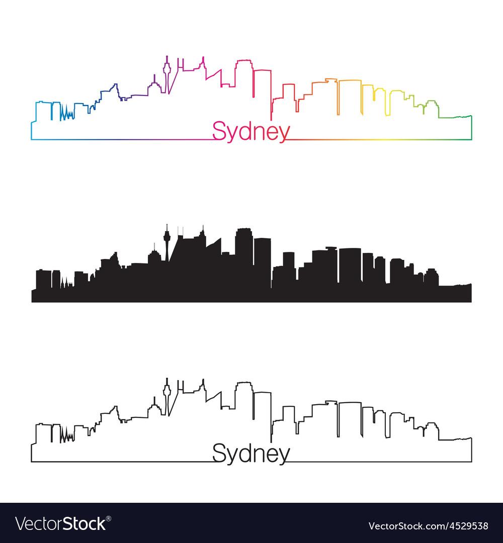 Sydney v2 skyline linear style with rainbow vector | Price: 1 Credit (USD $1)