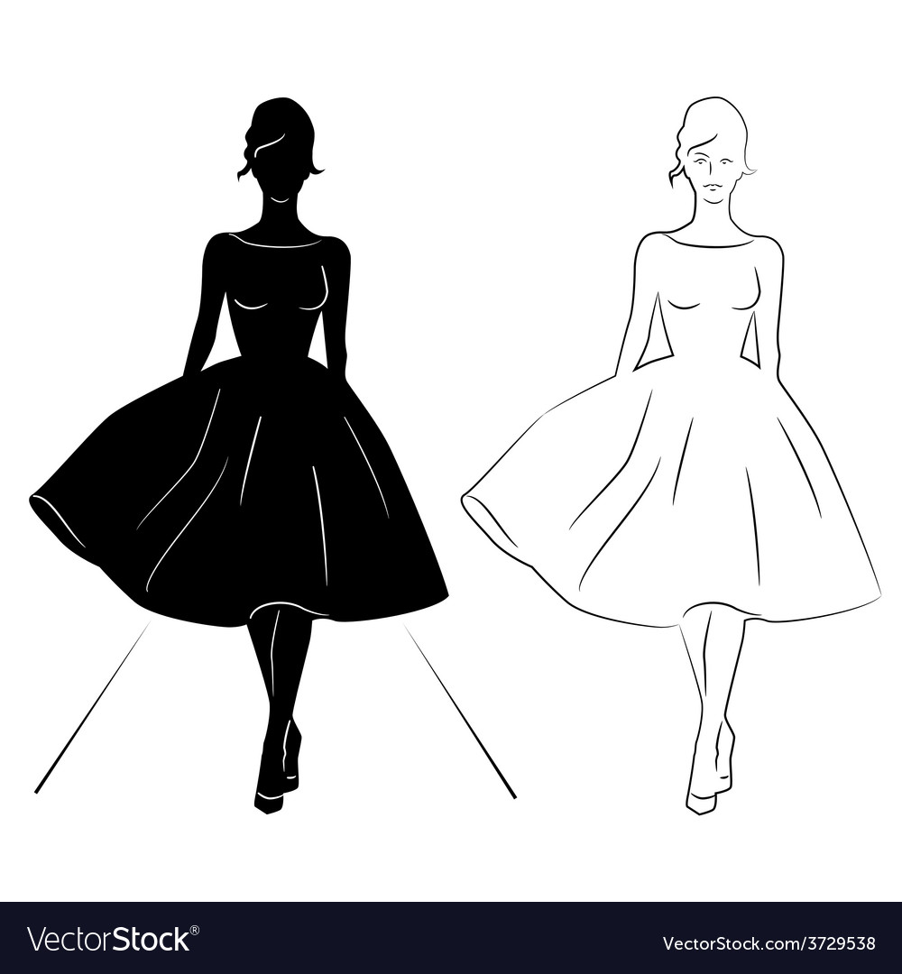 Woman silhouette on the runway vector | Price: 1 Credit (USD $1)