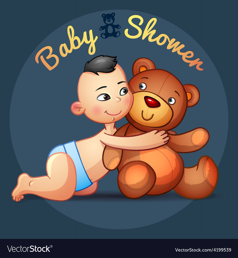 Asian baby boy with hugs teddy bear toy on a grey vector | Price: 3 Credit (USD $3)