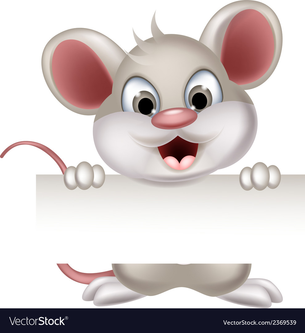 Funny mouse cartoon with blank sign vector | Price: 1 Credit (USD $1)