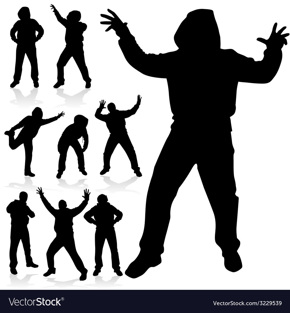 Man in various poses black silhouette vector | Price: 1 Credit (USD $1)