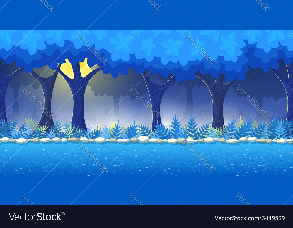 Night forest game background vector | Price: 3 Credit (USD $3)