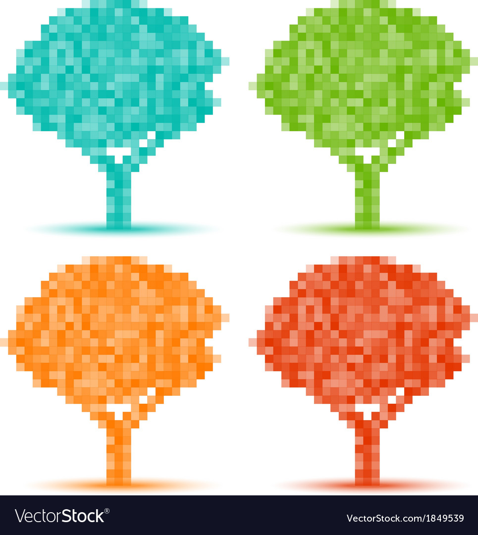 Set of season pixel trees vector | Price: 1 Credit (USD $1)