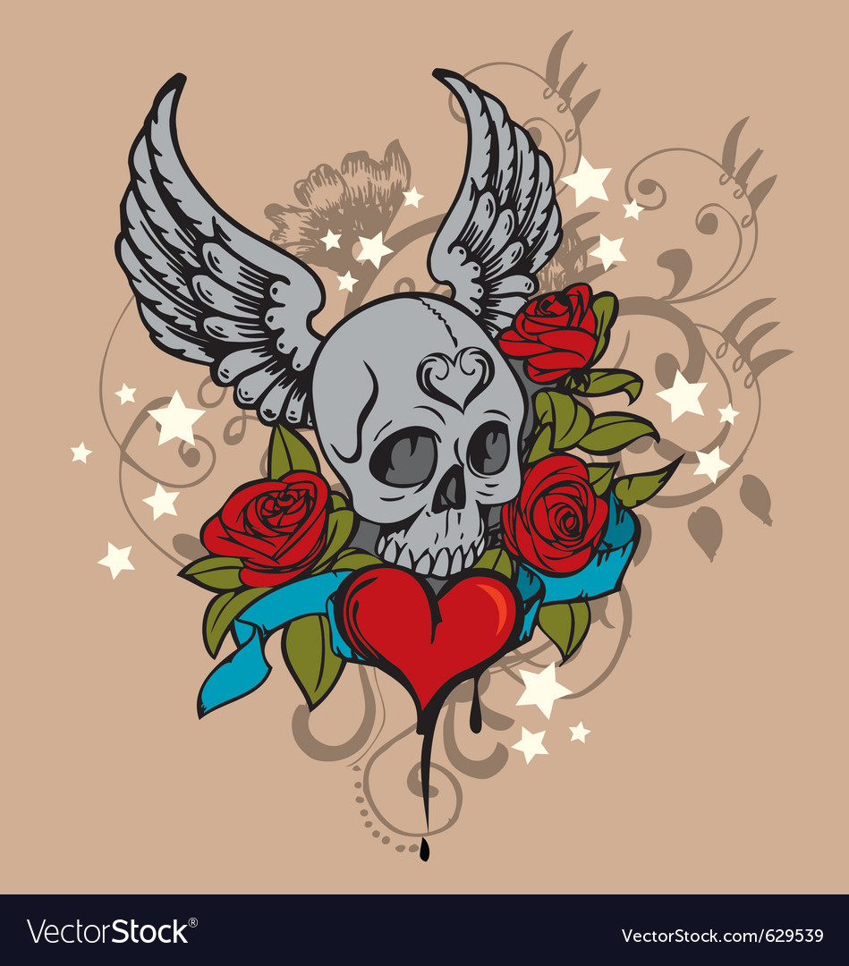 Tattoo skull graphic vector | Price: 1 Credit (USD $1)
