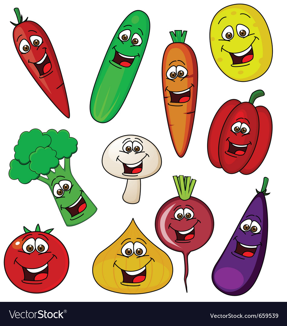 Vegetable cartoon character vector | Price: 1 Credit (USD $1)