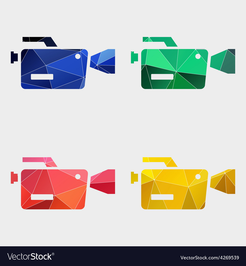 Video camera icon abstract triangle vector | Price: 1 Credit (USD $1)
