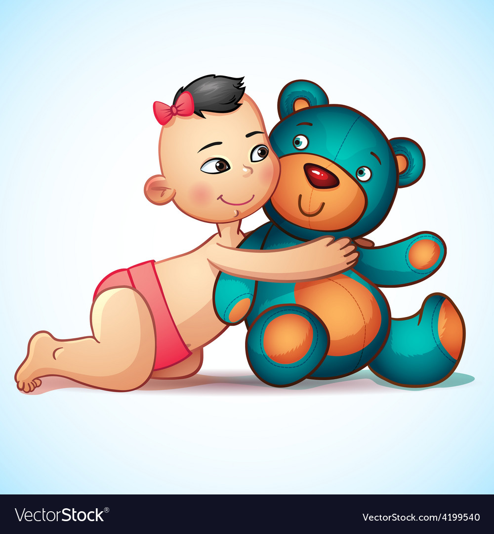 Asian baby girl with hugs teddy bear toy on a vector | Price: 3 Credit (USD $3)