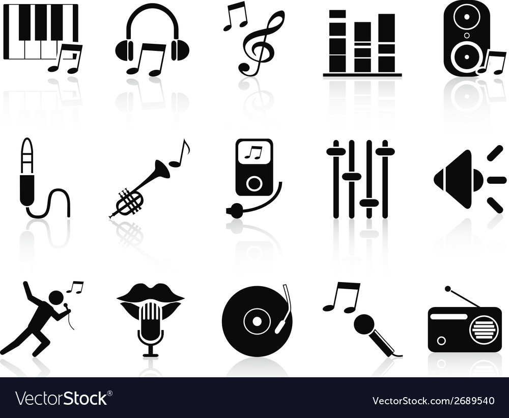 Black music audio icons set vector | Price: 1 Credit (USD $1)