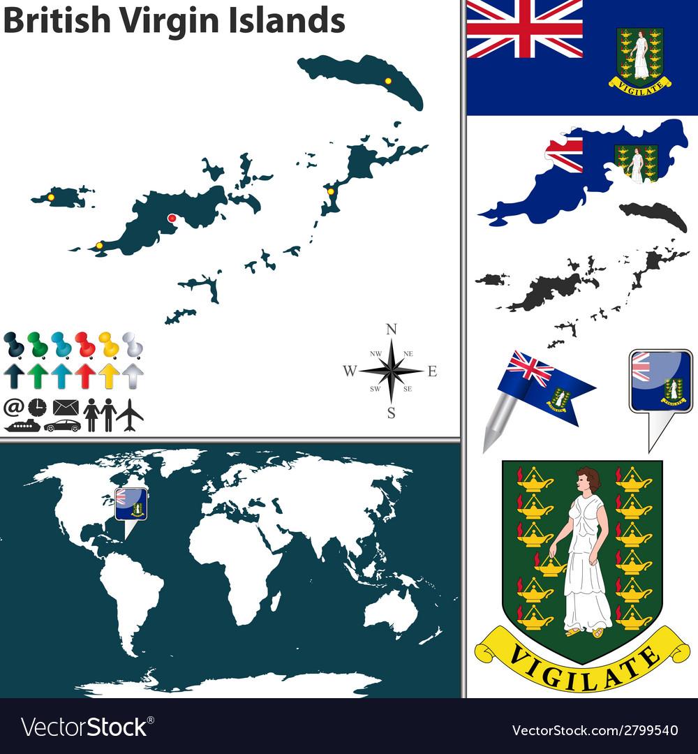 British virgin islands map world vector | Price: 1 Credit (USD $1)