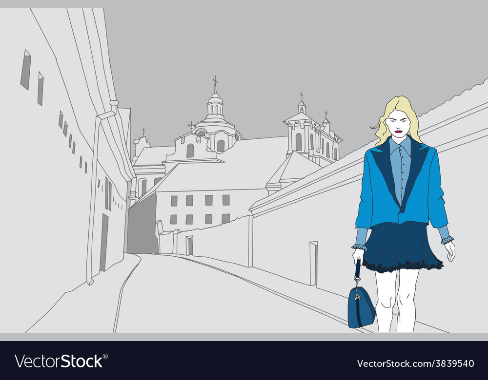 Fashion model on a gray old town background vector | Price: 1 Credit (USD $1)