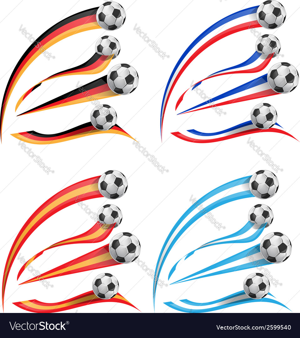 Germany greece france spain flag set with soccer vector | Price: 1 Credit (USD $1)