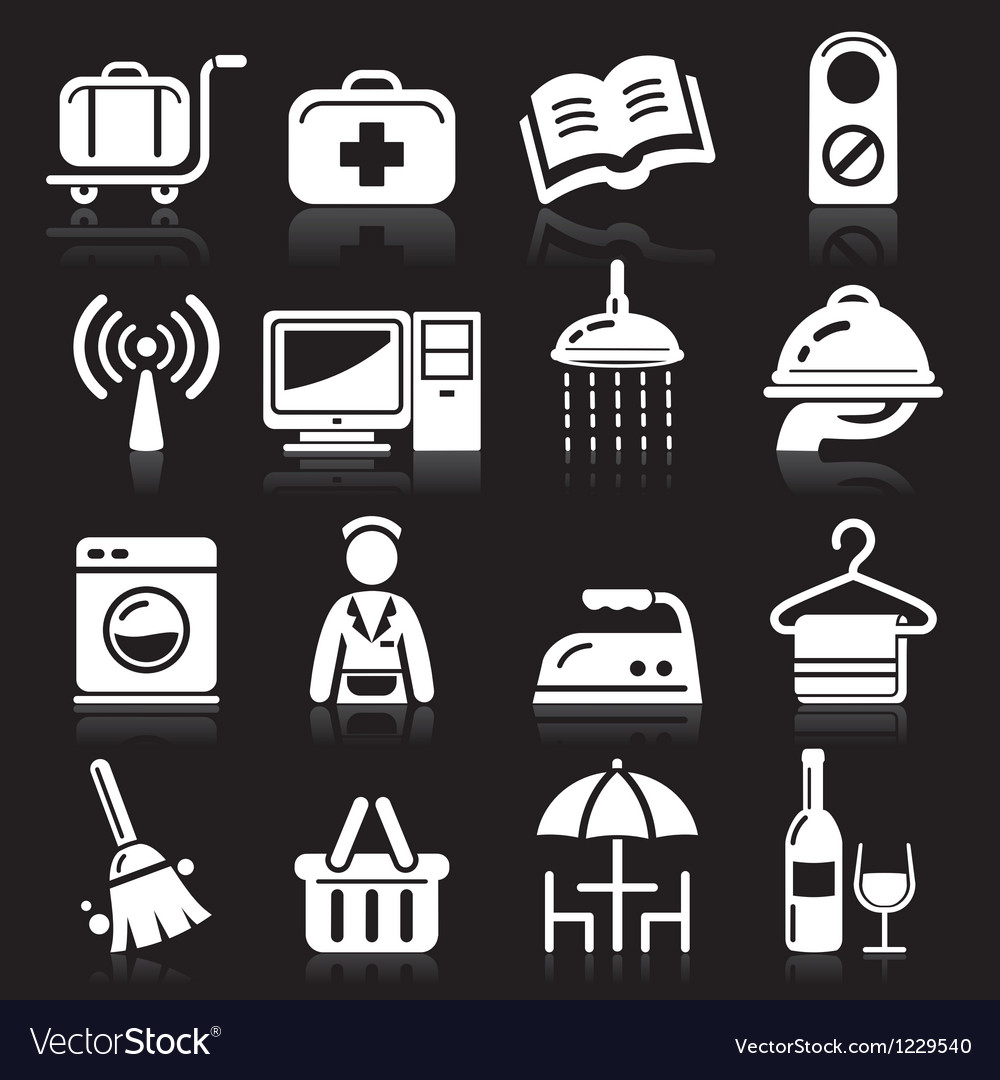 Hotel white icons set vector | Price: 1 Credit (USD $1)