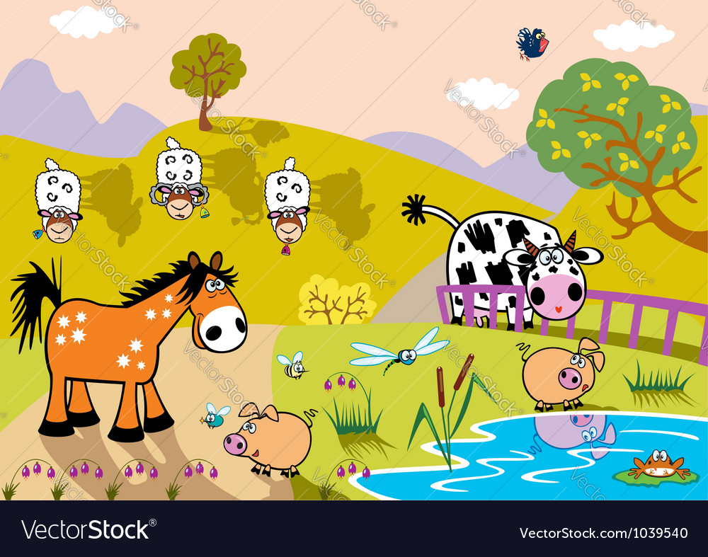 Landscape with childish farm animals evening vector | Price: 1 Credit (USD $1)