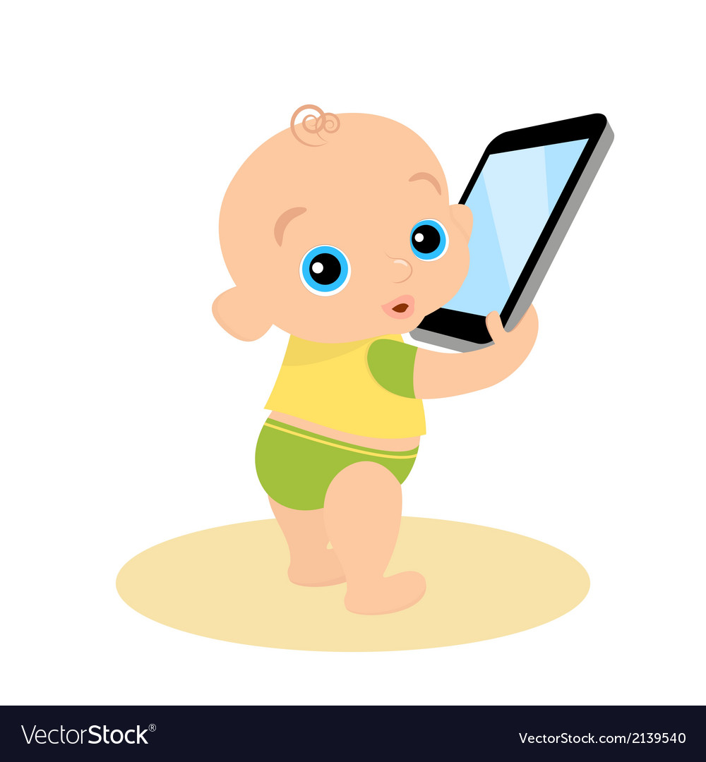 Little boy is playing with smartphone - isolated vector | Price: 1 Credit (USD $1)