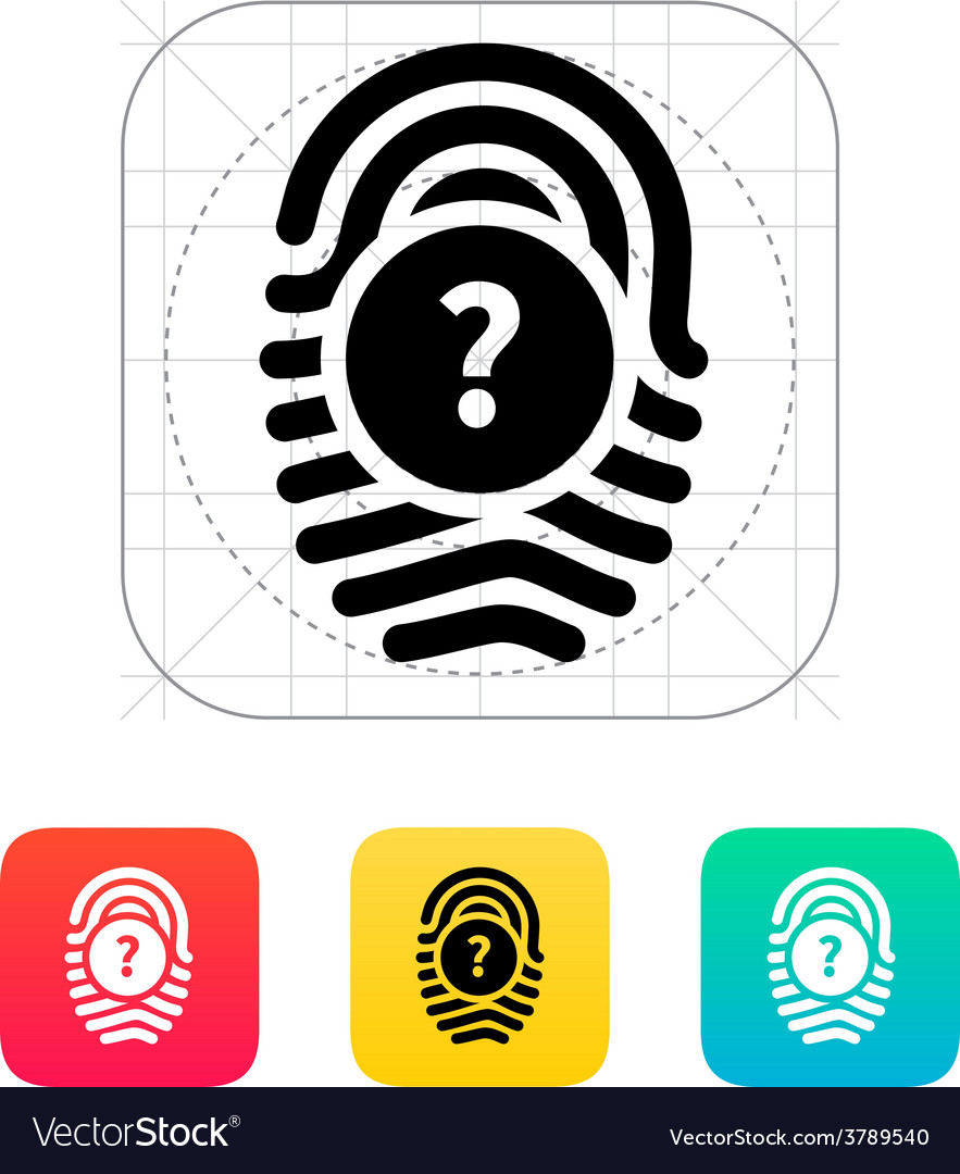 Question mark faq sign fingerprint icon vector | Price: 1 Credit (USD $1)