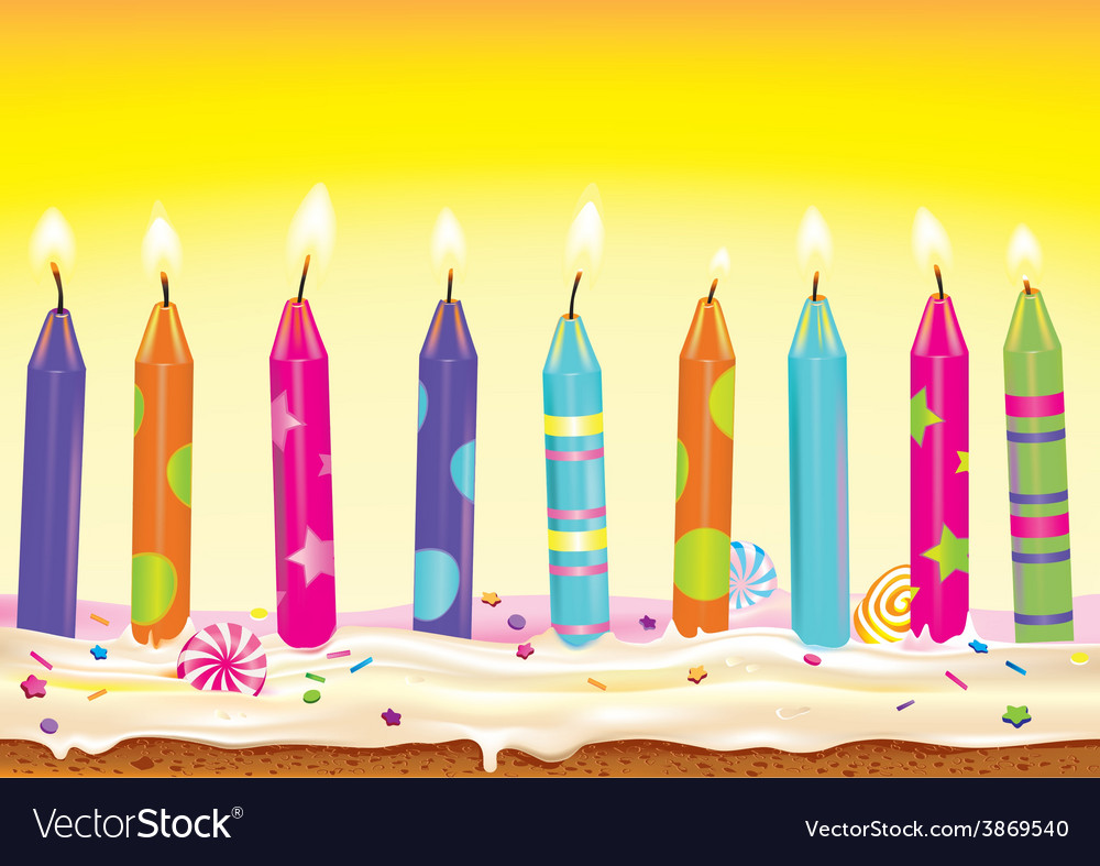 Set burning candles on the cake vector | Price: 1 Credit (USD $1)