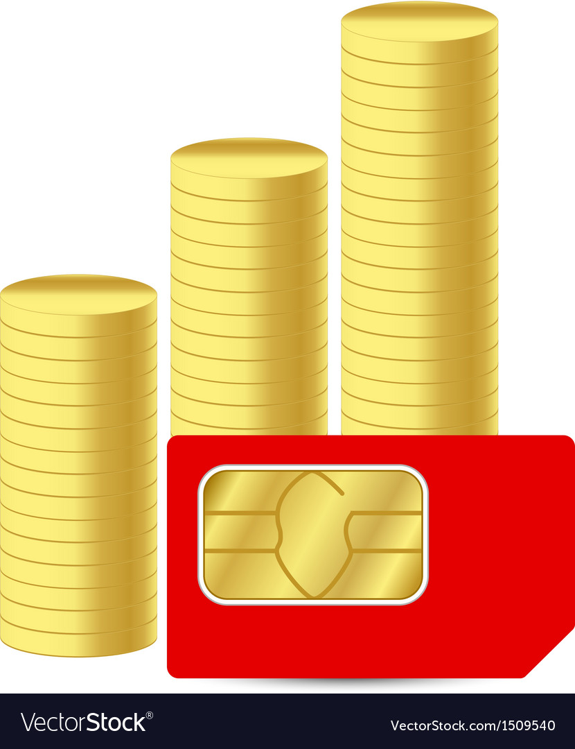Sim card with coins vector | Price: 1 Credit (USD $1)