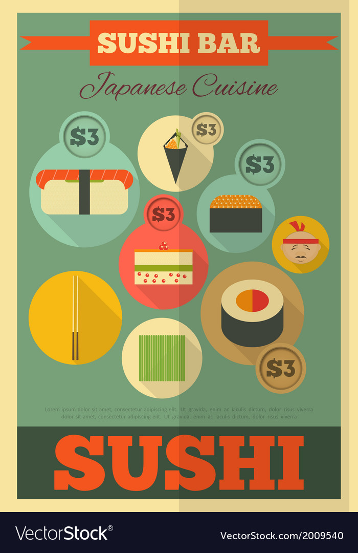 Sushi poster vector | Price: 1 Credit (USD $1)