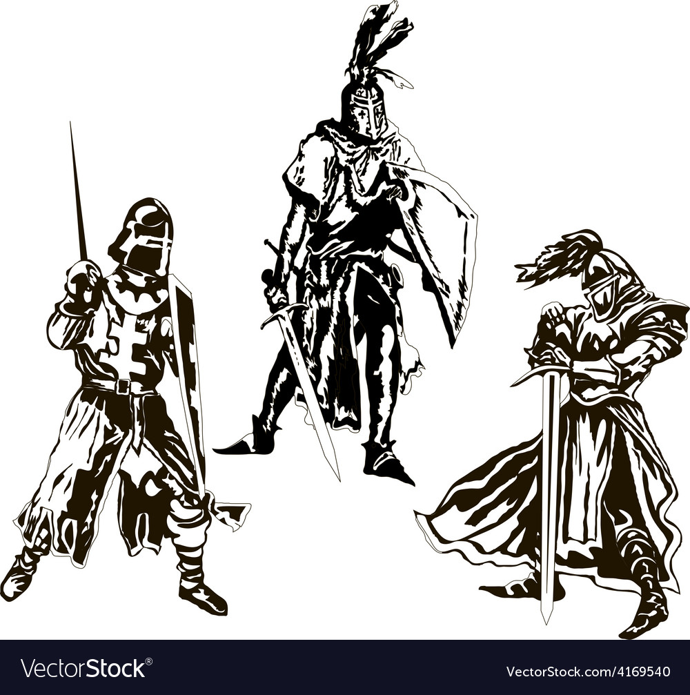 Three medieval knights vector | Price: 1 Credit (USD $1)