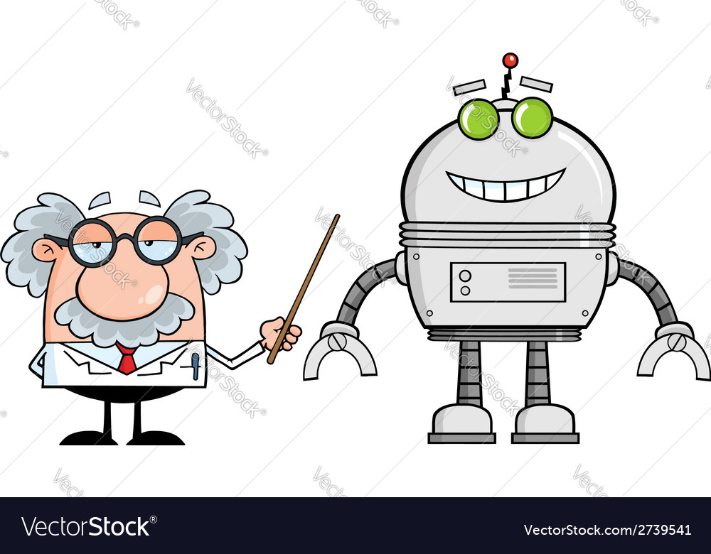 Cartoon scientist with robot vector
