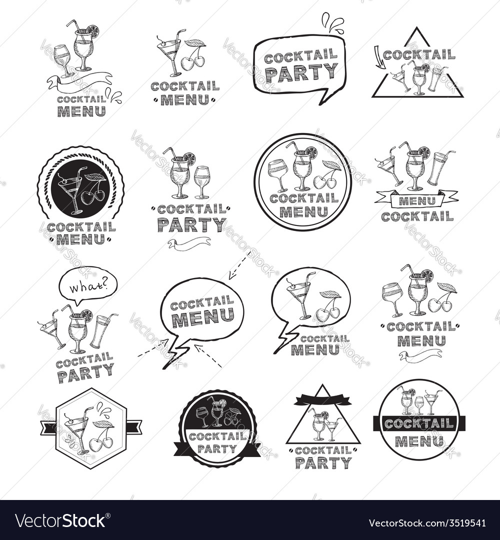 Cocktail party menu vector | Price: 1 Credit (USD $1)