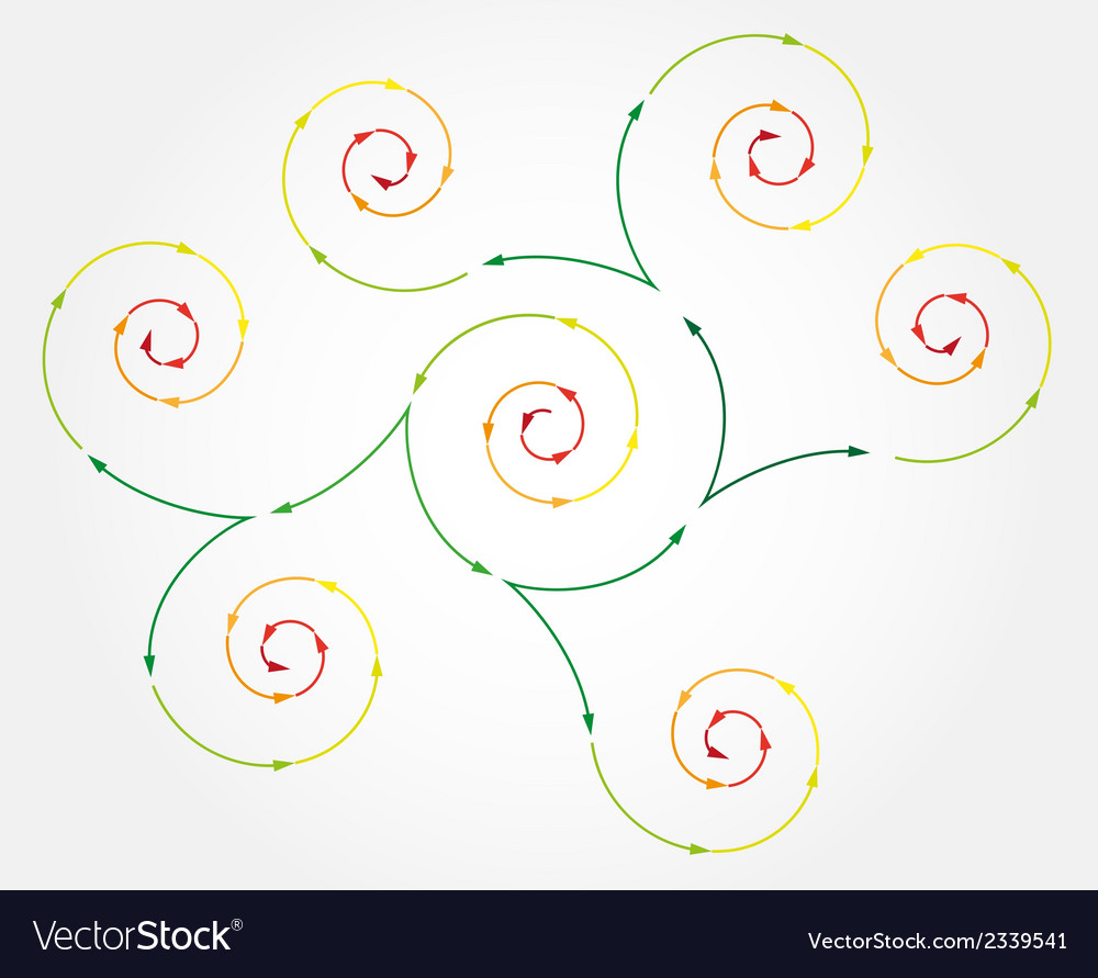 Connected spiral arrows vector | Price: 1 Credit (USD $1)