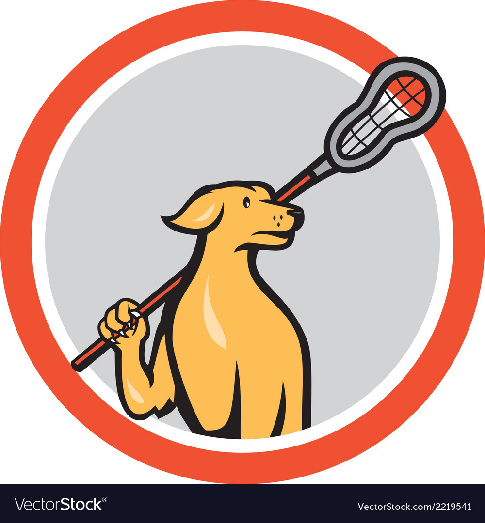 Dog lacrosse player crosse stick cartoon circle vector | Price: 1 Credit (USD $1)