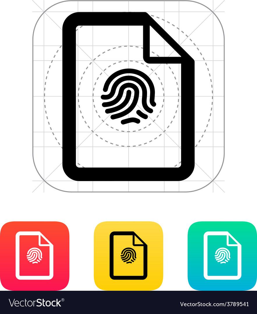 Fingerprint on file icon vector | Price: 1 Credit (USD $1)